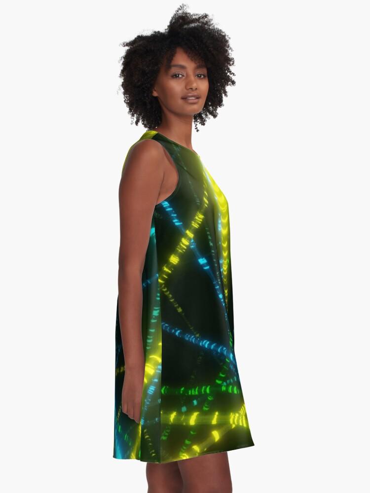 Alternate view of Neon Cyberpunk Punk 90s Laser Lights Rave Print A-Line Dress