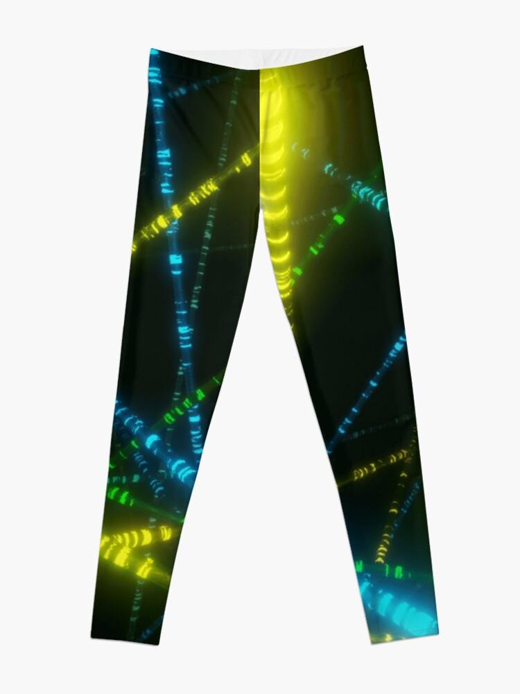 Alternate view of Neon Cyberpunk Punk 90s Laser Lights Rave Print Leggings