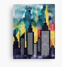 American City Buildings And Skyscrapers Watercolor Illustration Canvas Print
