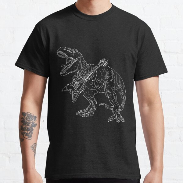 Heavy metal dinosaur graphic style for tattoo and coloring fans. Classic T-Shirt