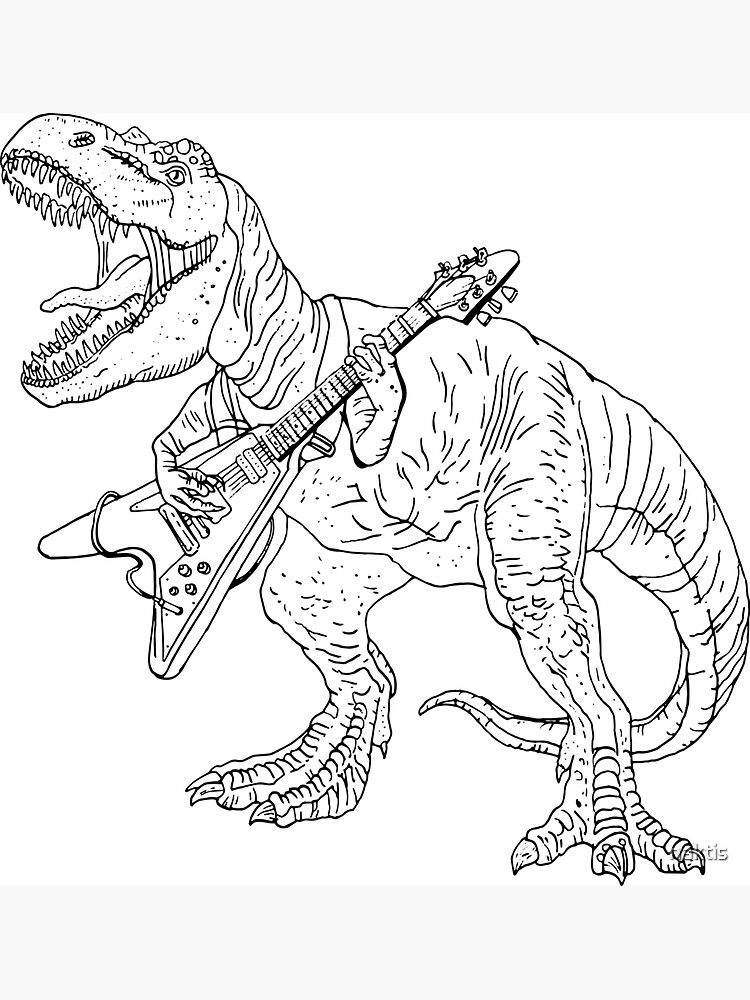 Heavy metal dinosaur graphic style for tattoo and coloring fans. by naktis