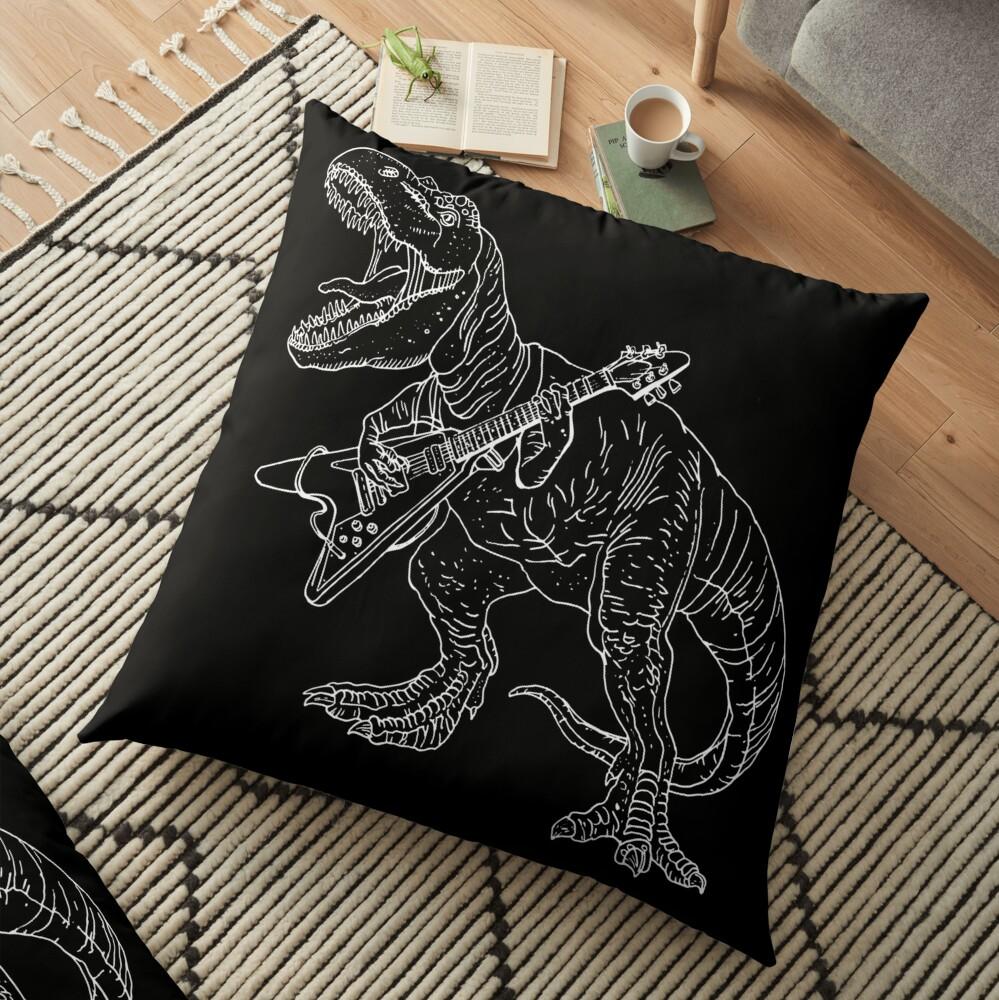 Estilo gráfico de dinosaurio heavy metal para aficionados al tatuaje y al color. Cojines de suelo