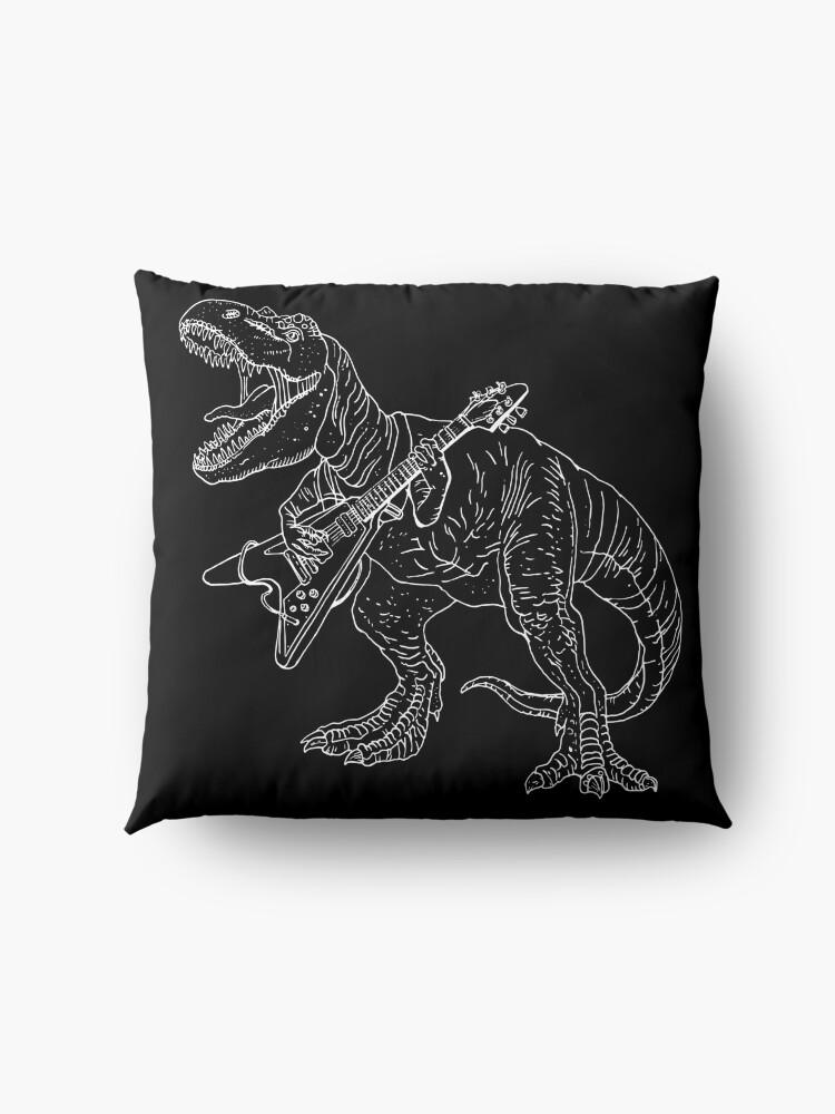Vista alternativa de Cojines de suelo Estilo gráfico de dinosaurio heavy metal para aficionados al tatuaje y al color.