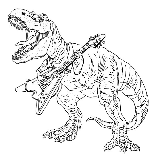 Heavy metal dinosaur graphic style for tattoo and coloring fans ...