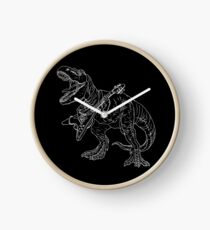 Heavy metal dinosaur graphic style for tattoo and coloring fans. Clock