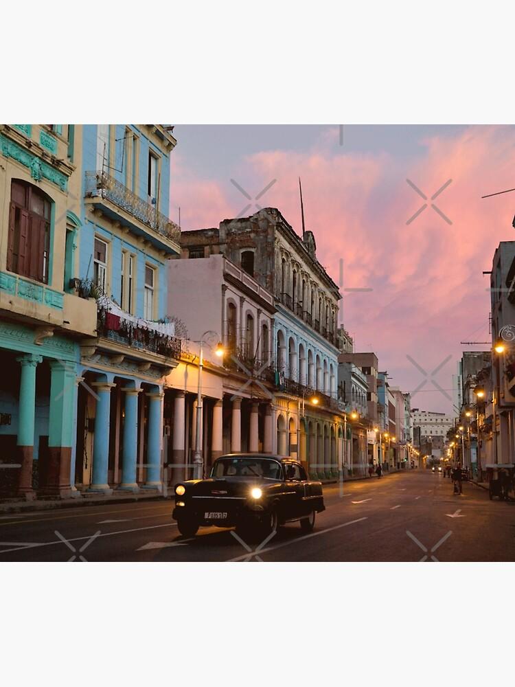 Cuba Havana Cuban Tropical Sunset Classic Car by thespottydogg