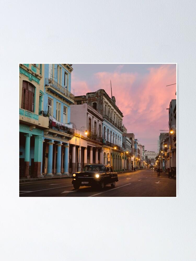 Alternate view of Cuba Havana Cuban Tropical Sunset Classic Car Poster