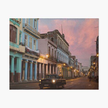 Cuba Havana Cuban Tropical Sunset Classic Car Art Board Print