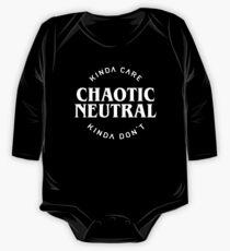Body de manga larga para bebé Alineación neutra caótica Kinda Care Kinda Don & # 39; t Funny Quotes