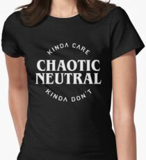 Chaotic Neutral Alignment Kinda Care Kinda Don't Funny DnD Quotes Women's Fitted T-Shirt