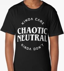Chaotic Neutral Alignment Kinda Care Kinda Don't Funny Quotes Long T-Shirt