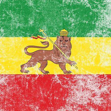 Old Flag of Ethiopia Lion of Judah Rastafarian Reggae by thespottydogg