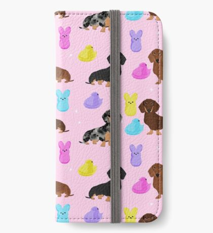 Dachshund dog breed peeps marshmallow treat easter spring doxie lover iPhone Wallet