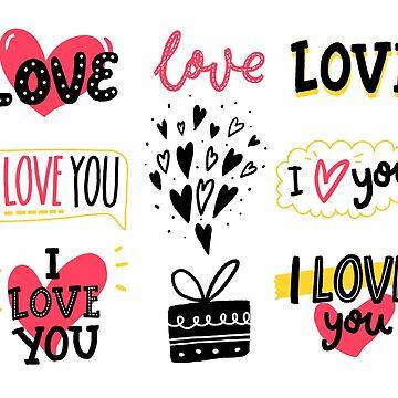 Love stickers set by annakutukova