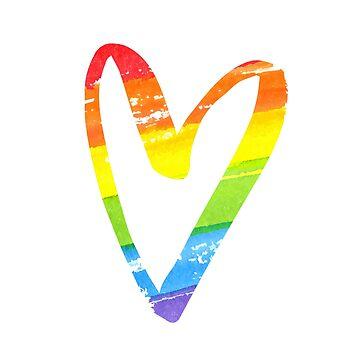 Rainbow watercolor heart by annakutukova