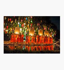Monks releasing paper Chinese lantern at loy krathong festival of light  Photographic Print