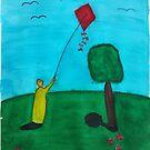 Boy Flying A Kite by Rannveig Ovrebo