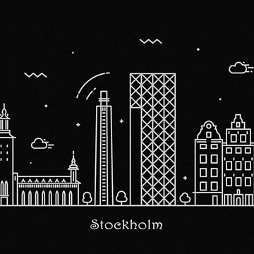 Stockholm Skyline Minimal Line Art Poster by geekmywall
