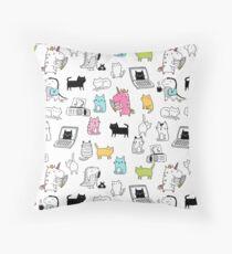 Cats. Dinosaurs. Unicorn. Sticker set. Throw Pillow