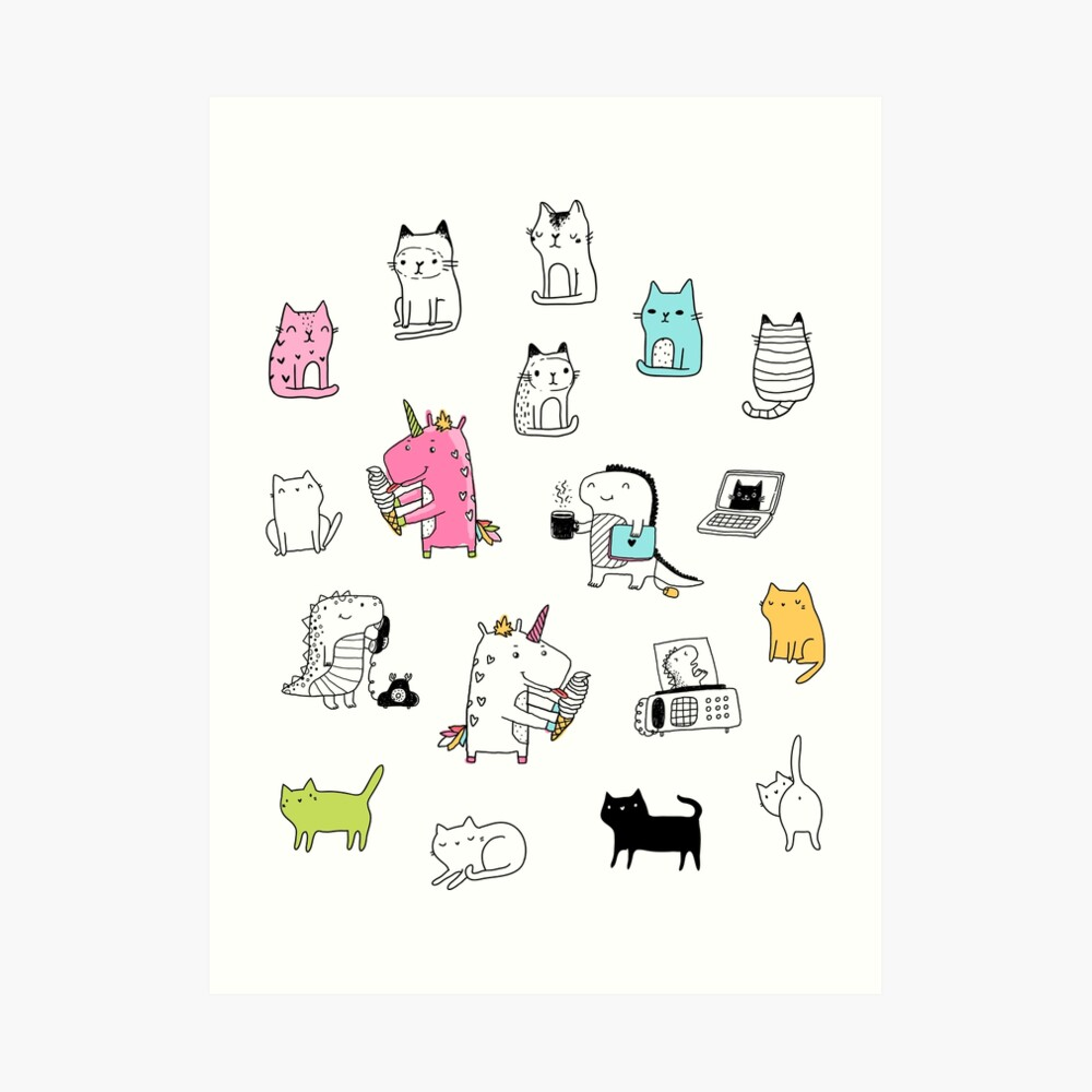 Cats. Dinosaurs. Unicorn. Sticker set. Art Print