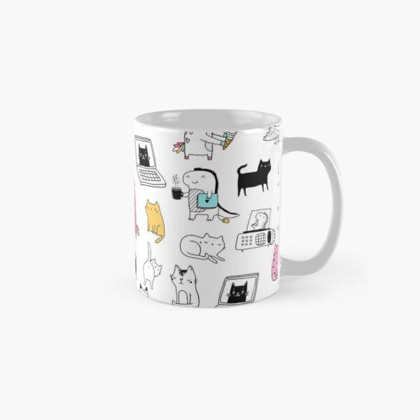 Cats. Dinosaurs. Unicorn. Sticker set. Classic Mug