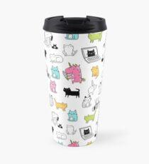 Cats. Dinosaurs. Unicorn. Sticker set. Travel Mug