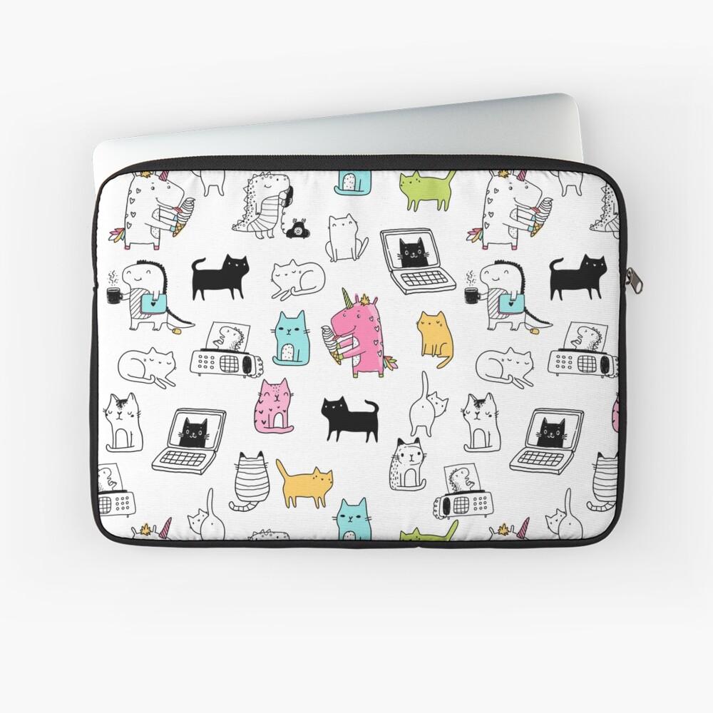 Cats. Dinosaurs. Unicorn. Sticker set. Laptop Sleeve
