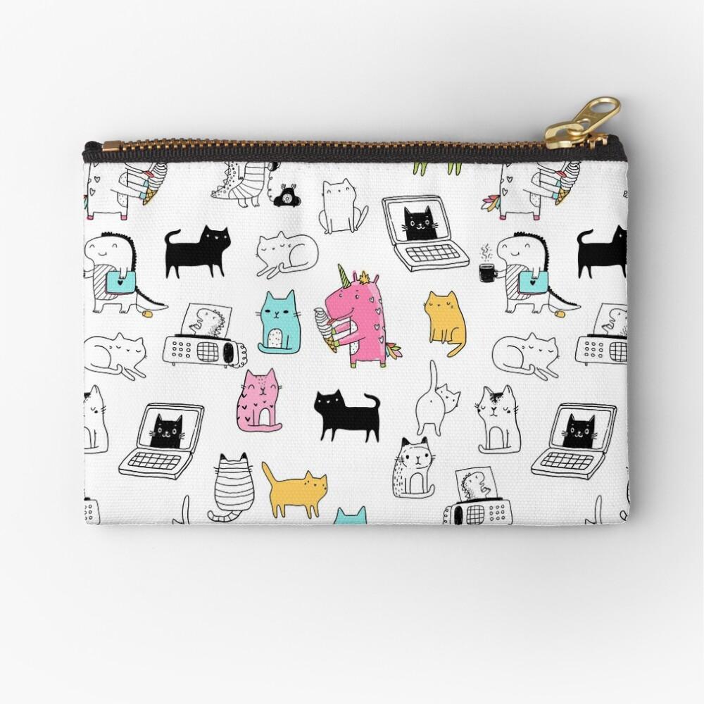 Cats. Dinosaurs. Unicorn. Sticker set. Zipper Pouch