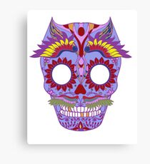 Purple Owl Sugar Skull Canvas Print