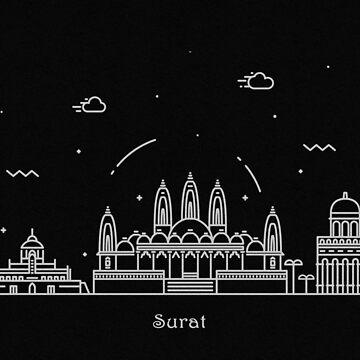 Surat Skyline Minimal Line Art Poster by geekmywall