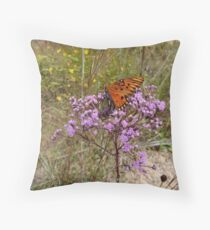 Gulf Fritillary in Ironweed Throw Pillow