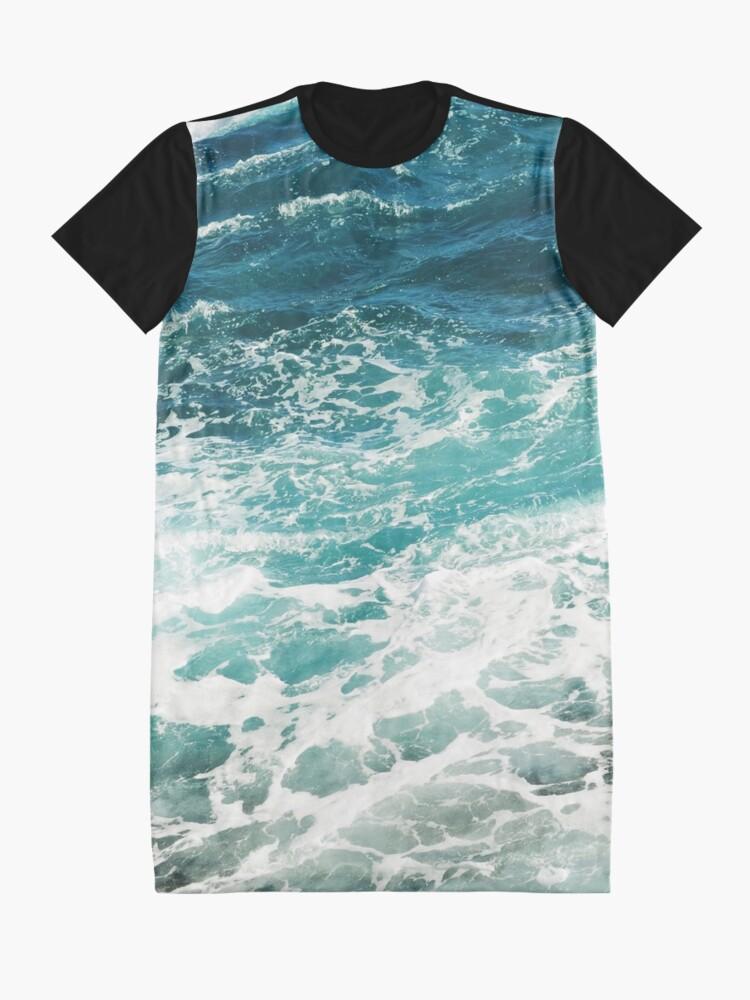 Alternate view of Blue Ocean Waves  Graphic T-Shirt Dress