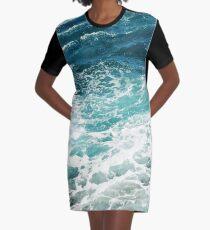 Blaue Meereswellen T-Shirt Kleid