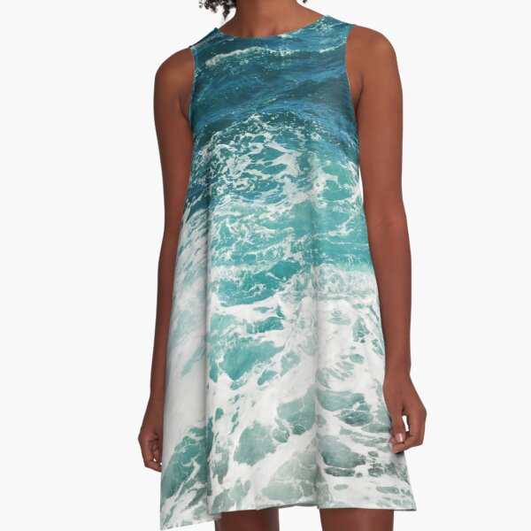 Blue Ocean Waves  A-Line Dress