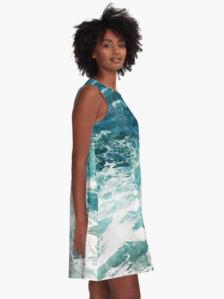 Alternative Ansicht von Blaue Meereswellen A-Linien Kleid