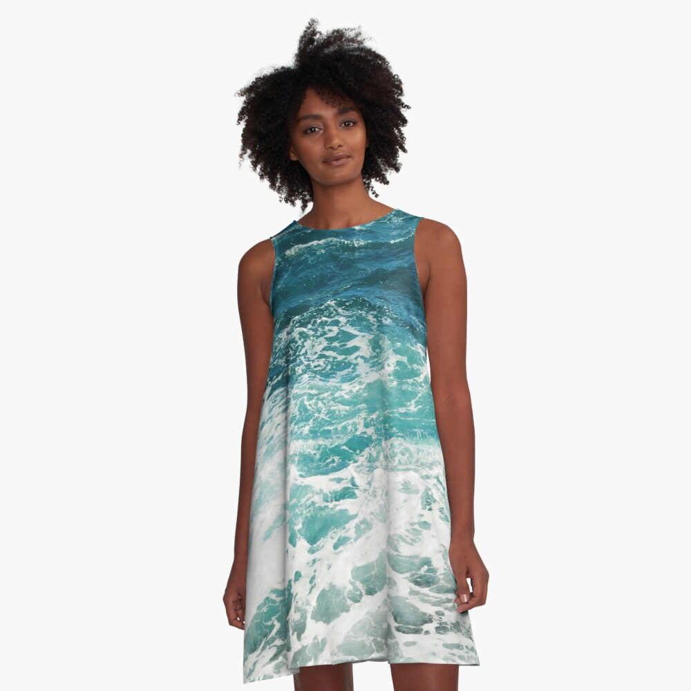 Blue Ocean Waves  A-Line Dress