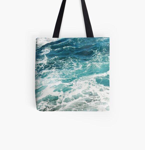 Blue Ocean Waves  All Over Print Tote Bag