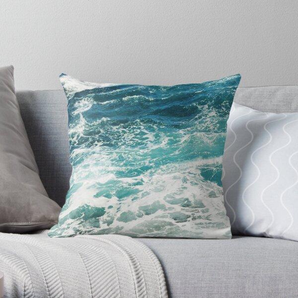 Blue Ocean Waves  Throw Pillow