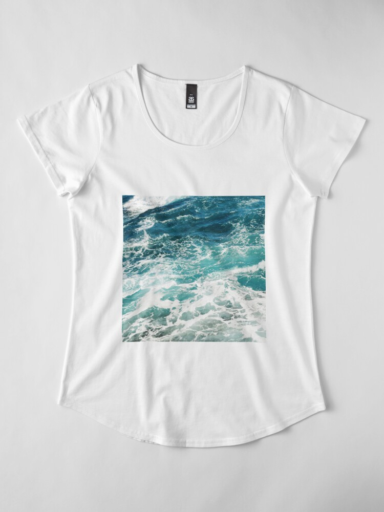 Alternate view of Blue Ocean Waves  Premium Scoop T-Shirt
