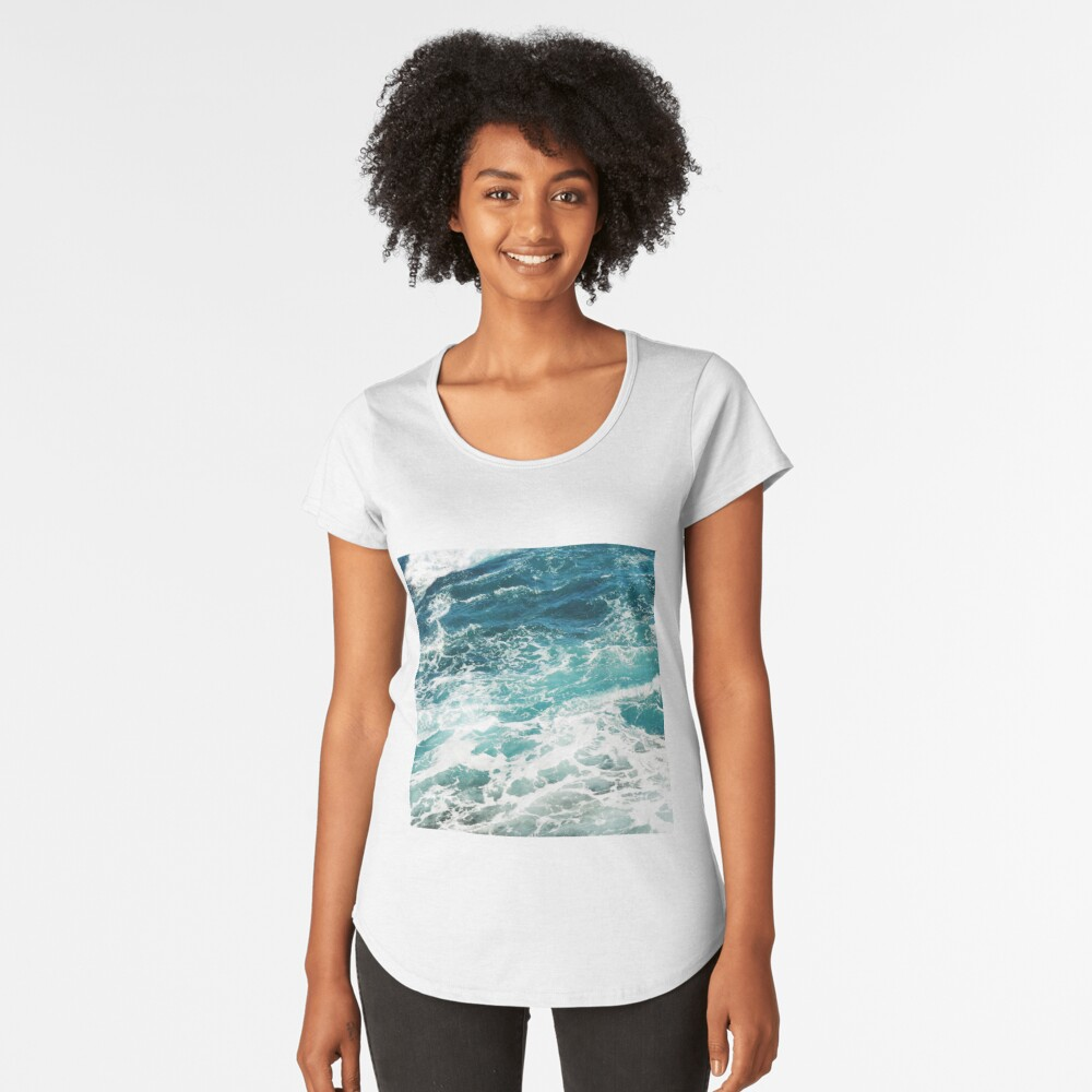 Blue Ocean Waves  Premium Scoop T-Shirt