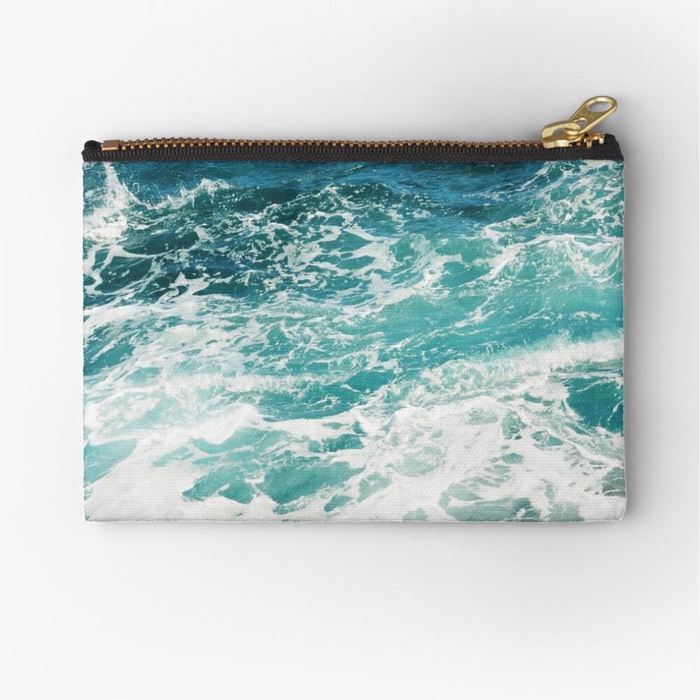 Blue Ocean Waves  Zipper Pouch