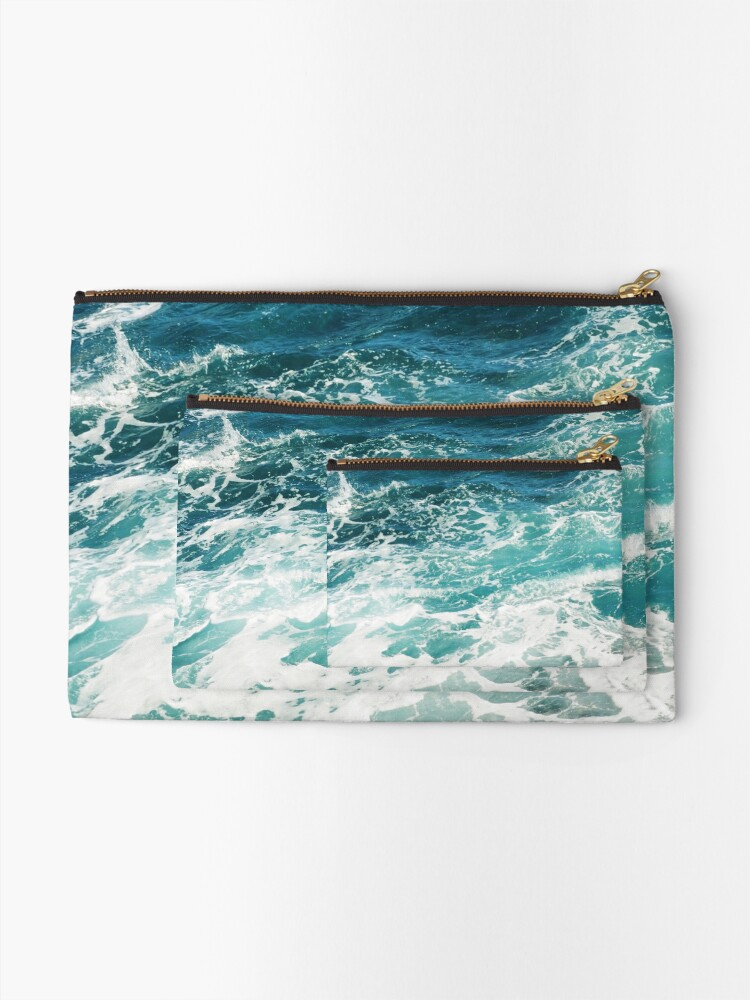 Alternate view of Blue Ocean Waves  Zipper Pouch