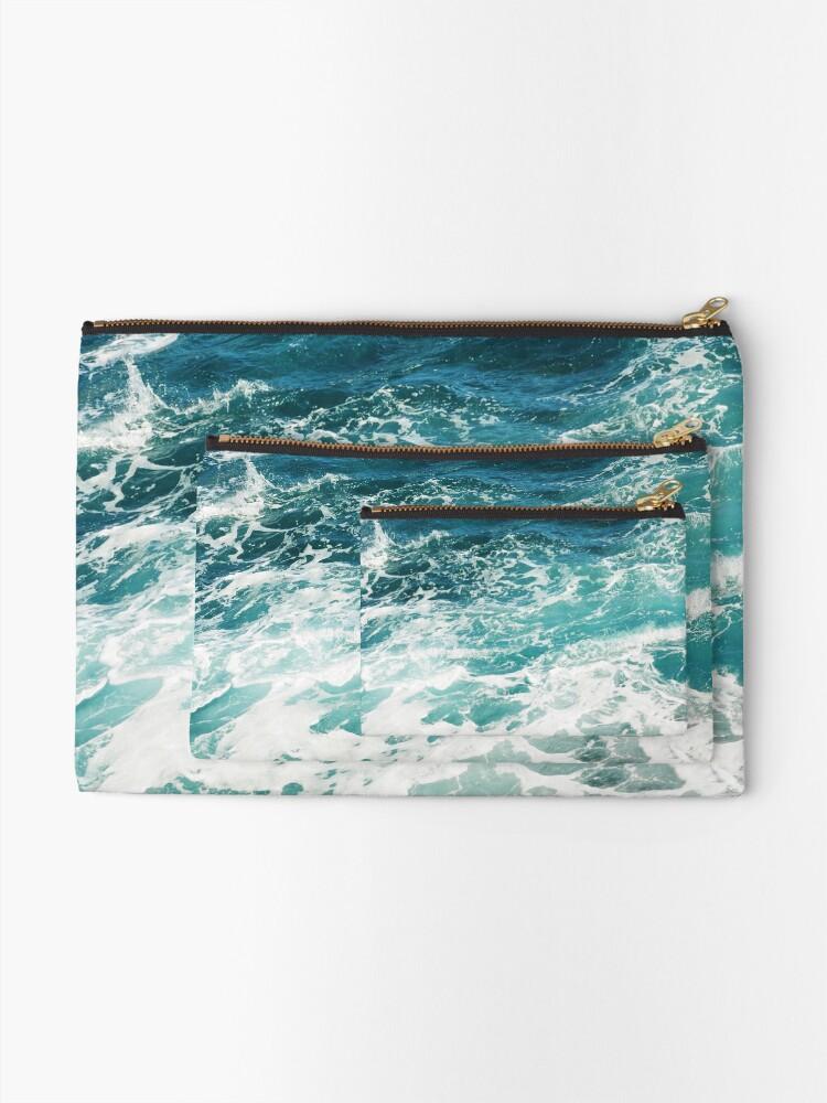 Alternate view of Blue Ocean Waves  Zipper Pouch