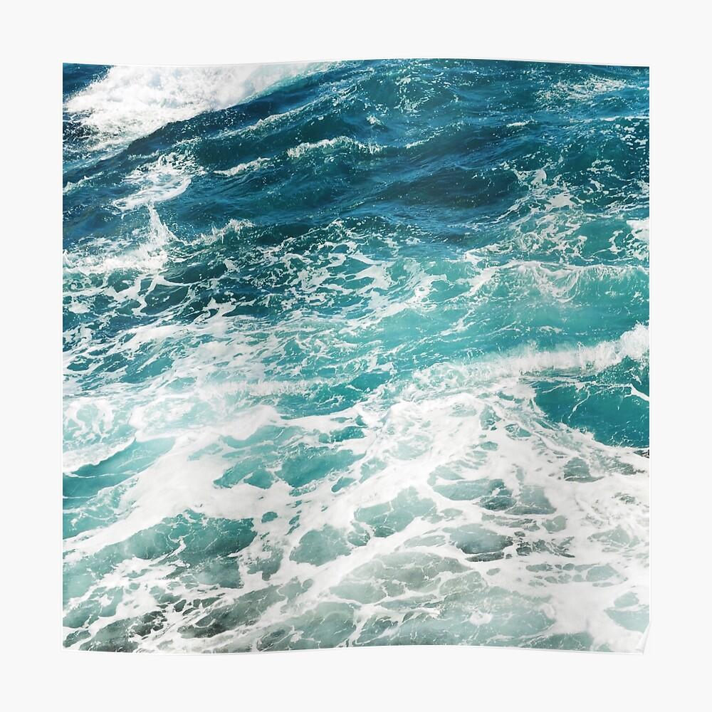Blaue Meereswellen Poster