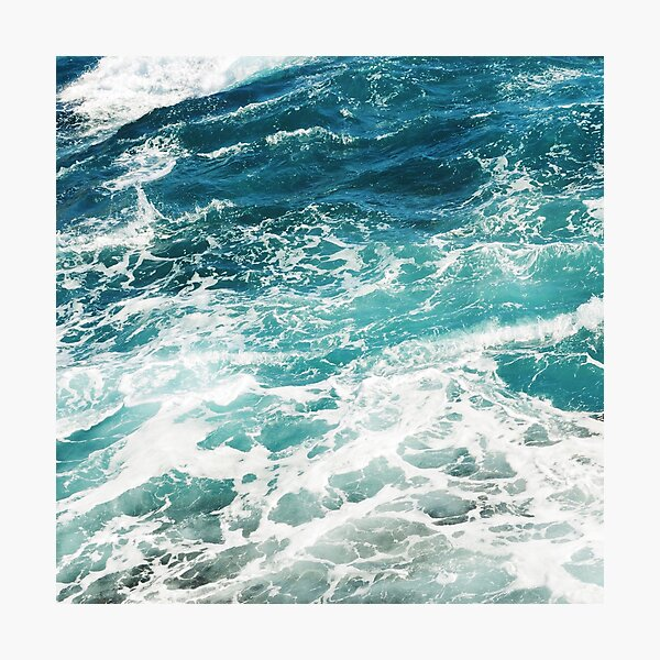 Blue Ocean Waves  Photographic Print