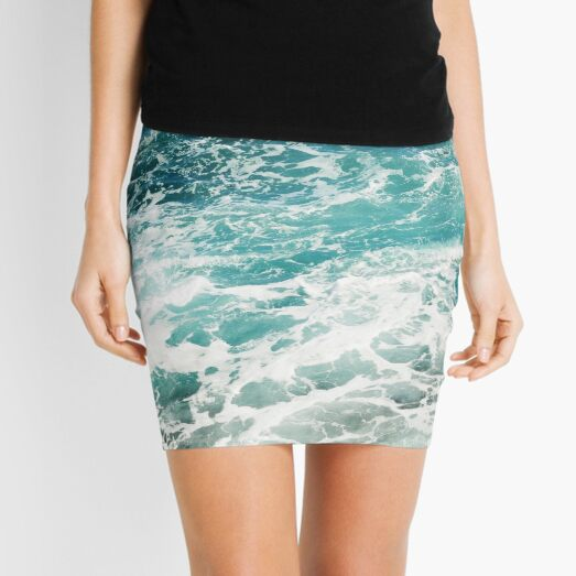 Blue Ocean Waves  Mini Skirt