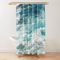 Blue Ocean Waves  Shower Curtain