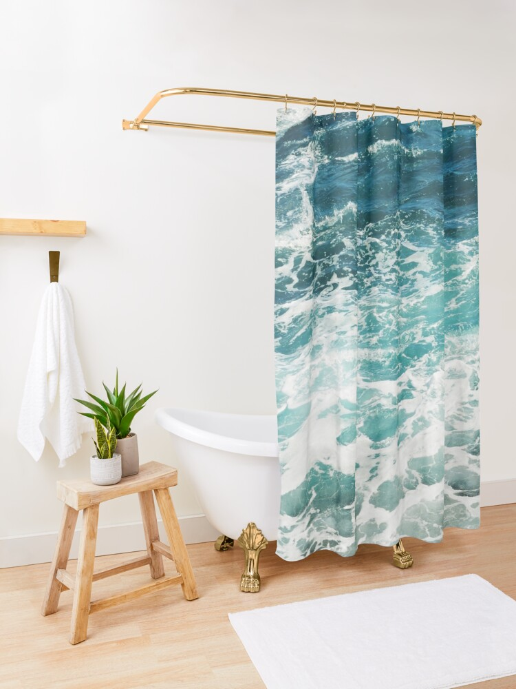 Alternate view of Blue Ocean Waves  Shower Curtain