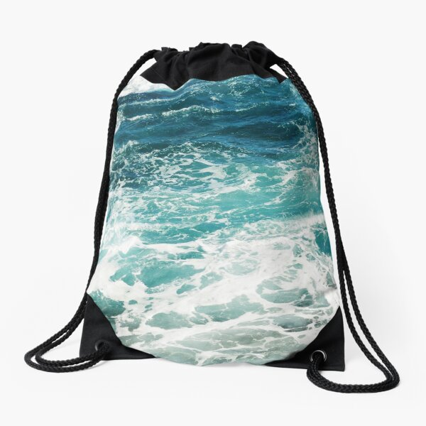 Blue Ocean Waves  Drawstring Bag