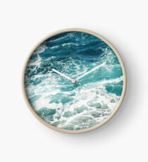 Blue Ocean Waves  Clock